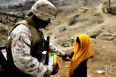 Marine Gives Afgan Girl Candy Poster