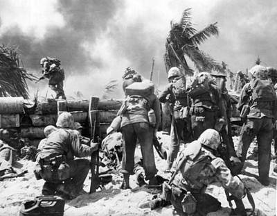 Marines Fight At Tarawa Poster by Underwood Archives