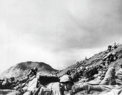 Marines Land On Iwo Jima Poster by Underwood Archives