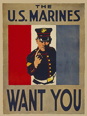Marines W W 1 Poster Poster by Daniel Hagerman