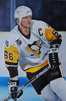 Poster featuring the painting Mario Lemieux by David Dunne