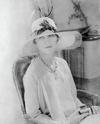 Marion Morehouse Wearing A Lanvin Straw Hat Poster