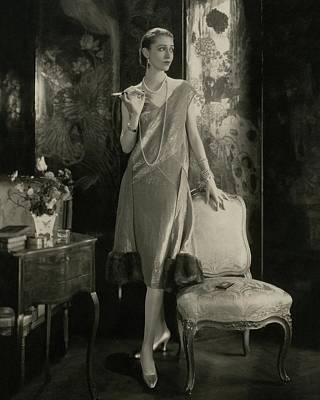 Marion Morehouse Wearing A Lucien Lelong Dress Poster