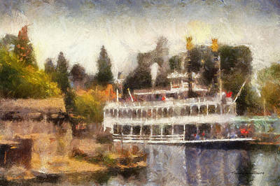 Mark Twain Riverboat Frontierland Disneyland Photo Art 02 Poster by Thomas Woolworth