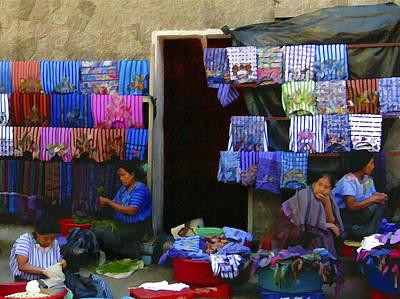 Market At Santiago Atitlan Guatemala Poster by Kurt Van Wagner