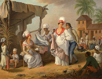 Market Day, Roseau, Dominica Linen Market Poster by Litz Collection