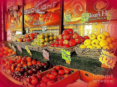 Apples And Plums In Red - Outdoor Markets Of New York City Poster by Miriam Danar