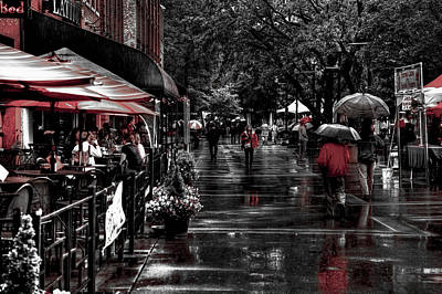 Market Square Shoppers - Knoxville Tennessee Poster by David Patterson
