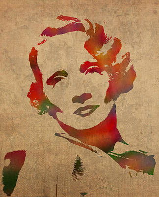 Marlene Dietrich Movie Star Watercolor Painting On Worn Canvas Poster by Design Turnpike