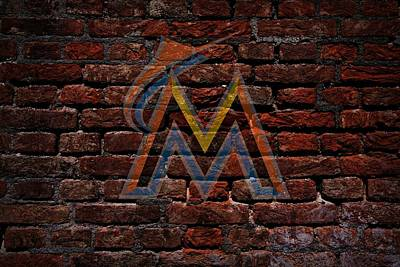 Marlins Baseball Graffiti On Brick  Poster by Movie Poster Prints