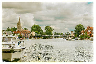 Marlow Suspension Bridge And All Saints Church Poster by Lenny Carter