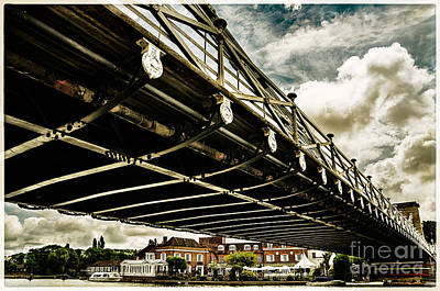 Marlow Suspension Bridge Spanning The River Thames Poster by Lenny Carter