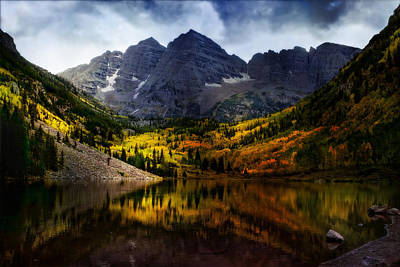 Poster featuring the photograph Maroon Bells - An American Icon by Ellen Heaverlo