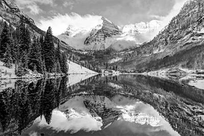 Poster featuring the photograph Maroon Bells Bw Covered In Snow - Aspen Colorado by Gregory Ballos