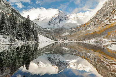 Maroon Bells Covered In Snow - Aspen Colorado Poster by Gregory Ballos