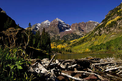 Poster featuring the photograph Maroon Bells by Jeremy Rhoades