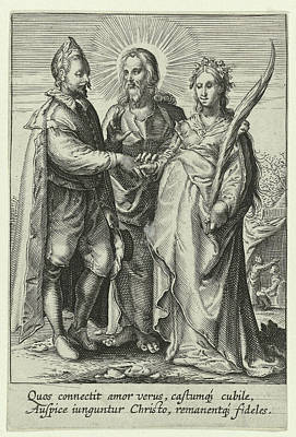 Marriage Of Spiritual Love, Jan Saenredam Poster by Jan Saenredam And Anonymous And Hendrick Goltzius