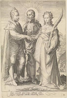Marriage Of Spiritual Love Through Christ Closed Poster by Jan Saenredam And Hendrick Goltzius And Cornelius Schonaeus