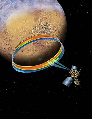 Mars Climate Sounder And Mars Poster by Nasa/jpl-caltech