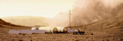 Poster featuring the digital art Mars Dust Storm by Bryan Versteeg