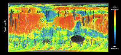 Mars Ferric Oxide Map Poster by Esa/cnes/cnrs/ias/universite Paris-sud, Orsay