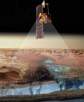 Mars Odyssey Spacecraft Detecting Ice Poster