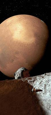 Mars Seen From Phobos Poster by Detlev Van Ravenswaay