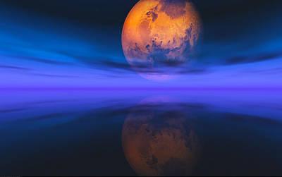 Mars Setting Poster by J Riley Johnson