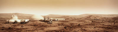 Mars Settlement Landscape With Farm Poster