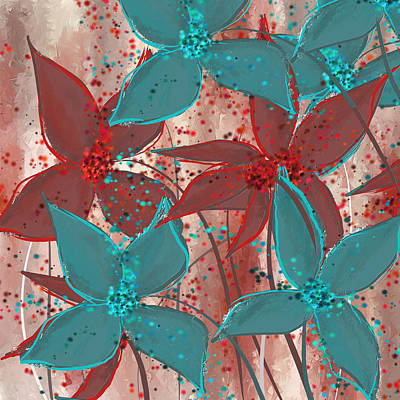 Marsala And Turquoise  Poster