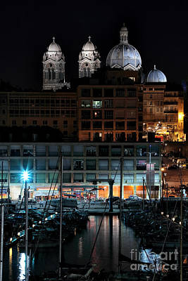 Marseille Cathedral At Night Poster by John Rizzuto