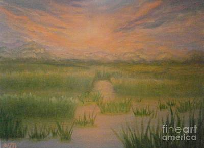 Poster featuring the painting Marsh Sunset by Holly Martinson