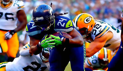 Marshawn Lynch Beast Mode Poster by Brian Reaves