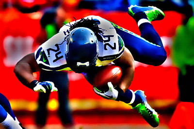 Marshawn Lynch  Took Flight Poster by Brian Reaves