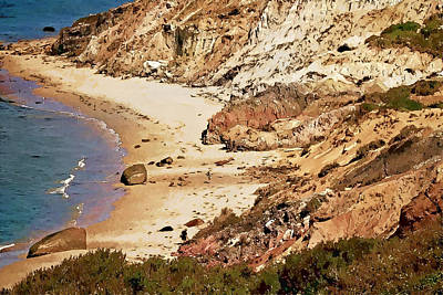 Poster featuring the photograph Marthas Vineyard Gay Head Cliffs  Photo Art by Constantine Gregory