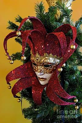 Mardi Gras Christmas In Red Poster