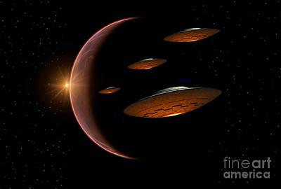 Martians Evacuating Their Homeworld Poster by Mark Stevenson