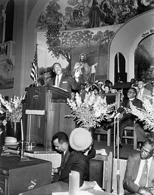 Martin Luther King Jnr 1929 1968 American Black Civil Rights Campaigner In The Pulpit Poster by James Earl Ray