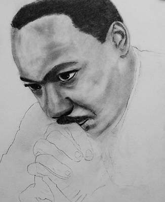 Poster featuring the drawing Martin Luther King Jr. Mlk Jr. by Michael Cross