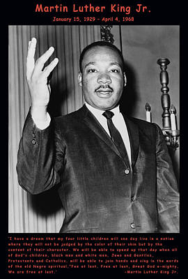 Martin Luther King Jr Poster by Official Government Photograph