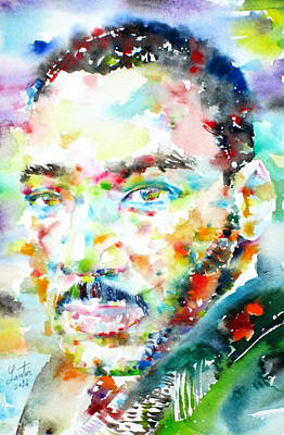 Martin Luther King Jr. - Watercolor Portrait Poster by Fabrizio Cassetta