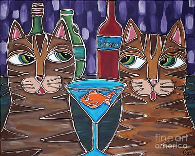 Martini At Cat Bar Poster