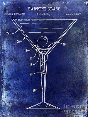 Martini Glass Patent Drawing Blue Poster by Jon Neidert