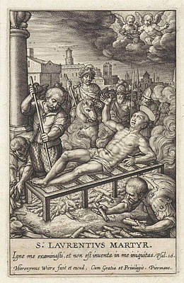 Martyrdom Of St. Lawrence, Hieronymus Wierix Poster by Hieronymus Wierix