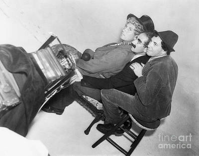 Marx Brothers - Groucho Harpo And Chico Marx - Behind The Scenes Poster by MMG Archive Prints