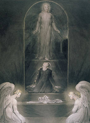 Mary Magdalene At The Sepulchre Poster by William Blake