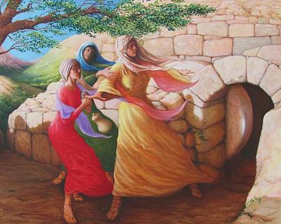 Mary Magdalene Discovering The Empty Tomb Poster by Herschel Pollard