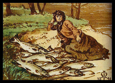 Mary Millais With A Huge Catch Of Salmon Poster