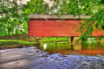 Maryland Country Roads - Peaceful Crossing - Loys Station Covered Bridge 3a Spring Poster