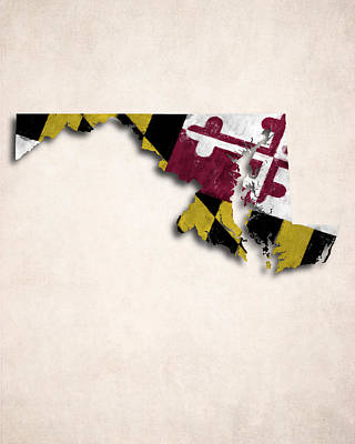 Maryland Map Art With Flag Design Poster by World Art Prints And Designs